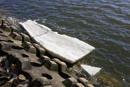 breakwater: Breakwater and ice on the shore, closeup of photo Stock Photo