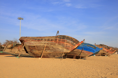 fishing boats: Wooden fishing boats in the drying