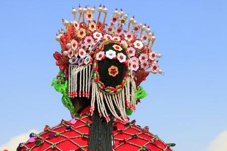 Chinese traditional style yangko folk dance performance headwear, luannan County, hebei Province, China 版權商用圖片