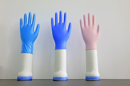 Nitrile gloves samples, closeup of photo 스톡 콘텐츠