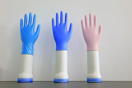 Nitrile gloves samples, closeup of photo Standard-Bild