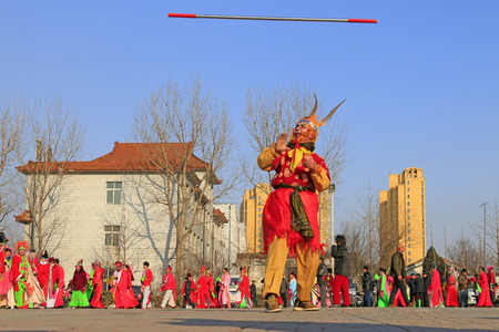 hebei: Luannan County- February 23: Chinese traditional style yangko folk dance performance in the street, on February 23, 2016, luannan County, hebei Province, China