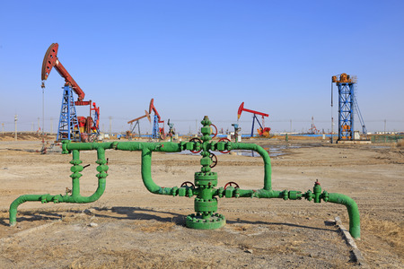 Oil pipeline and pumping unit, closeup of photo Stock Photo