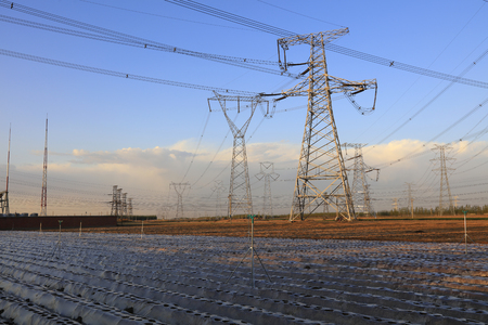 steel tower: high voltage electric power steel tower, closeup of photo Stock Photo