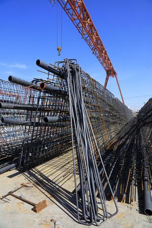 steel beam: Steel beam and steel components under blue sky Stock Photo