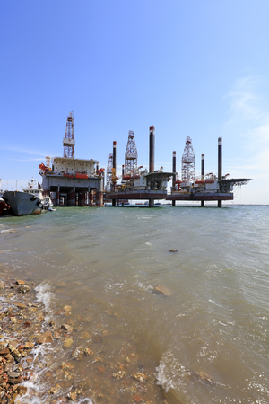Caofeidian - April 17: sea jack-up drilling platform, April 17, 2016, caofeidian, hebei province, China