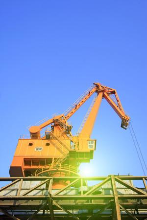 Portal crane local features, closeup of photo Stock Photo