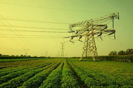 electric tower in the fields, closeup of photo