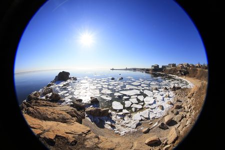 sea ice natural scenery in winter Stock Photo