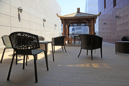 cane chair: pavilion and cany chair, closeup of photo