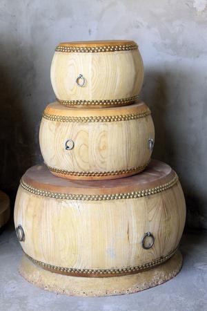 semifinished: wooden drum Stock Photo