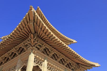 eaves: pavilion angle wooden eaves