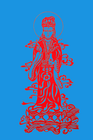 bodhisattva: traditional Chinese paper-cut works, closeup of photo Stock Photo