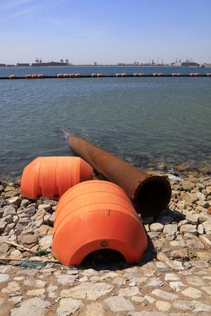 dredging tools: Dredging steel buoy in the dock Stock Photo