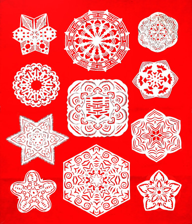 auspicious element: traditional Chinese paper-cut works, closeup of photo Stock Photo