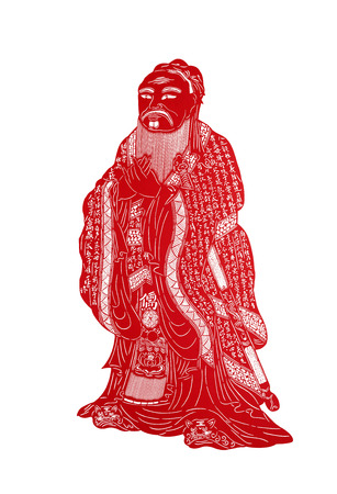 traditional Chinese paper-cut works, closeup of photo 스톡 콘텐츠