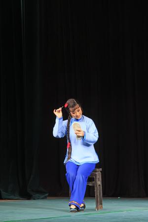 hebei: Luannan County - June 14: China PingJu stage performance still, on June 14, 2015, luannan county, hebei province, China