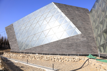 city park pavilion: Tangshan - January 31: plant amorous feelings pavilion building exterior in a park, January 31, 2016, tangshan city, hebei province, China
