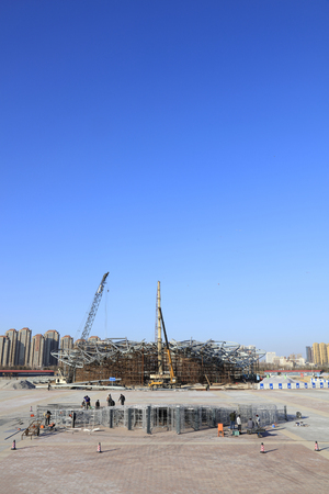 Tangshan - January 31: busy construction site, tangshan world horticultural exposition, January 31, 2016, tangshan city, hebei province, China