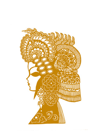 chignon: traditional Chinese paper-cut works, closeup of photo Stock Photo