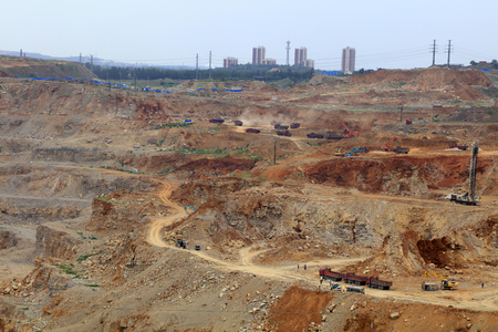 ore: iron ore mining area landscape in Luan county, China Editorial