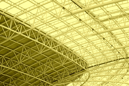 roof framework: Large steel structure truss, closeup of photo Stock Photo
