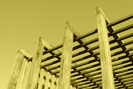 Oxidation rust steel beams in blue sky background, closeup of photo Stock Photo
