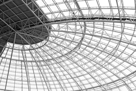 roof framework: Large steel structure truss, closeup of photo Editorial