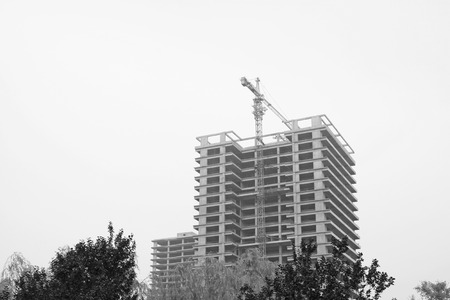 uncompleted: Unfinished buildings, closeup of photo