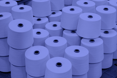 semifinished: cotton group on a spinning production line in a factory Stock Photo