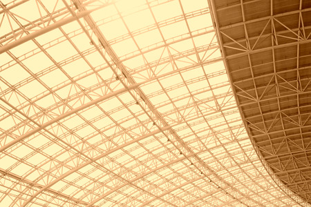 weft: Large steel structure truss, closeup of photo Stock Photo