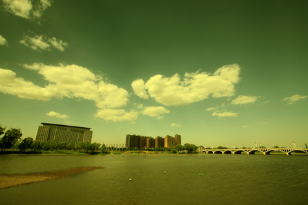 scenery of the city, closeup of photo