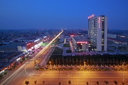 hebei: Luannan County - June 18th: urban architectural landscape at night, June 18th, 2015, Luannan County, Hebei Province, China
