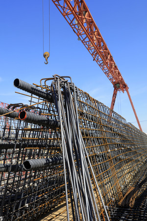 Steel beam and steel components under blue sky Stock Photo