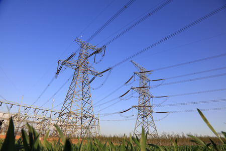 electric power: high voltage electric power steel tower, closeup of photo Stock Photo
