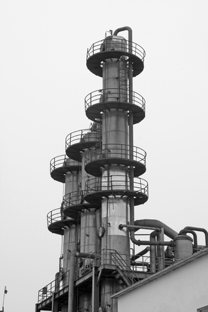 rectification: Rectification tower building landscape in a manufacturing factory