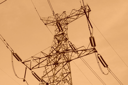 electric tower in the blue sky, steel power transmission facilities Stock Photo