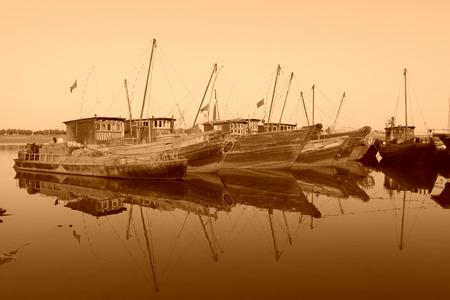 berth boat in the port, closeup of photo Editorial