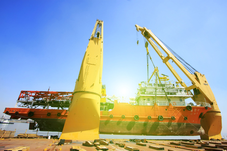 TIANJIN PORT - MARCH 23: seal 7 Exploration ship was hoisted in a large cargo ship, on March 23, 2015, tianjin port, tianjin, China.
