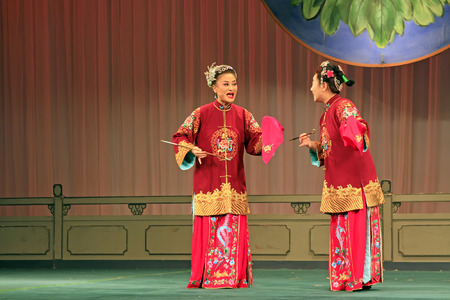 Luannan County - June 15: Chinese Peking opera performances on the stage, June 15, 2015, Luannan County, Hebei Province, Chinese Editorial