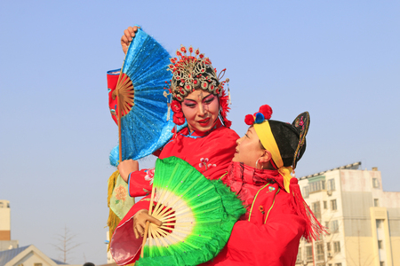 Luannan County- February 21: Chinese traditional style yangko folk dance performance in the street, on February 21, 2016, luannan County, hebei Province, China Editorial