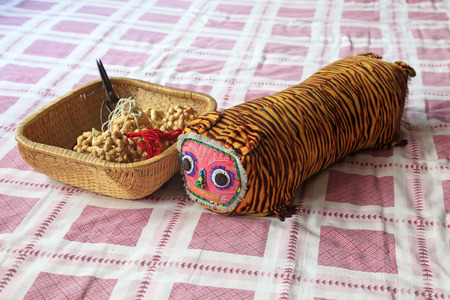 Tiger head pillow and shallow basket