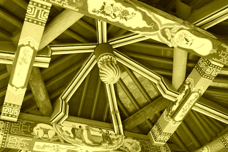 traditional Chinese style pavilion internal drawing and pattern, closeup of photo