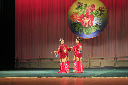 matchmaker: Luannan County - June 15: Chinese Peking opera performances on the stage, June 15, 2015, Luannan County, Hebei Province, Chinese Editorial