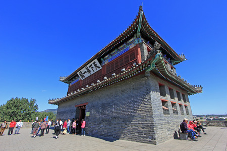tourist site: Shanhaiguan ancient city embrasured watchtower, China Editorial