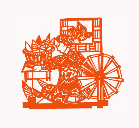 traditional Chinese paper-cut works, closeup of photo Stock Photo