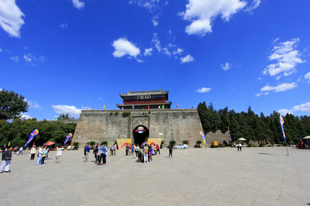 tourists in the Shanhaiguan ancient city square, China Editorial