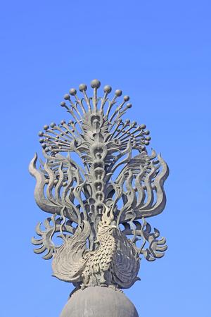 tangshan city: Tangshan - on January 31: giant sculptures under blue sky, on January 31, 2016, tangshan city, hebei province, China
