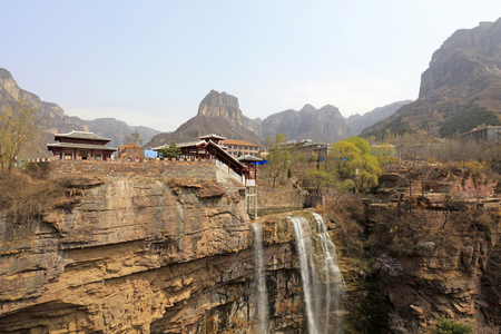pavilions and waterfalls in shanxi, china