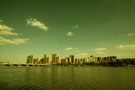 Beautiful scenery of the city, closeup of photo